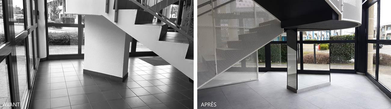 Avant - Après : Rénovation de l'escalier d'un batiment professionnel