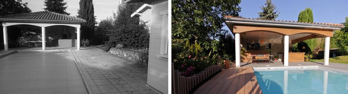 Rénovation d\'un jardin avec piscine 500 m² en photos avant-après