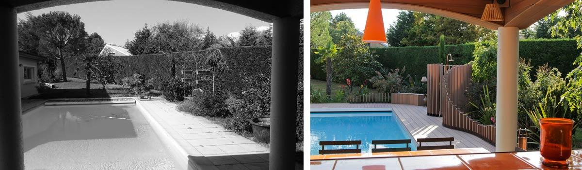 Avant - Après : Rénovation d'une piscine extérieur par un jardinier-paysagiste