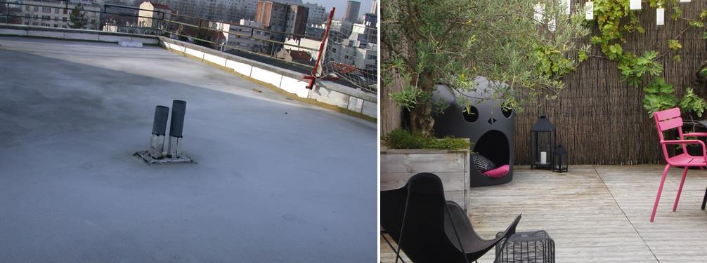 Avant Après Aménagement D Une Terrasse Sur Le Toit D Un