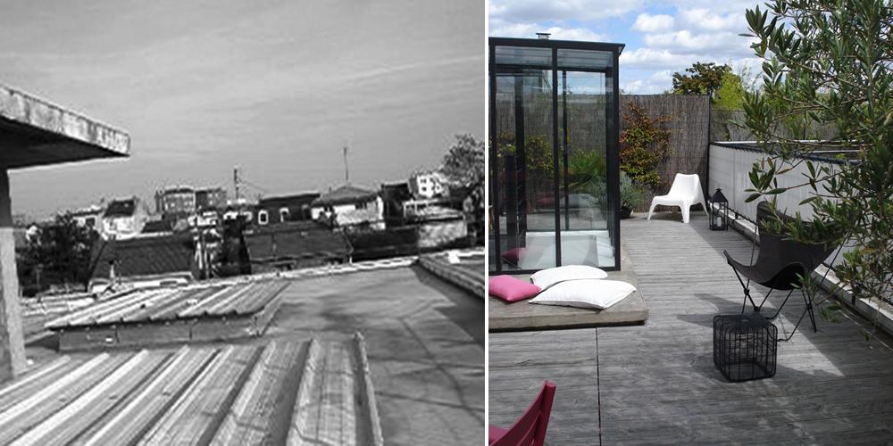 Avant - Après : Aménagement d\'une terrasse sur le toit d\'un immeuble