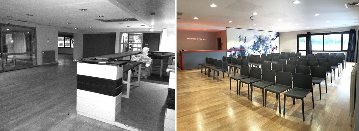 Aménagement d'une salle de conférence professionnel en photo avant - après