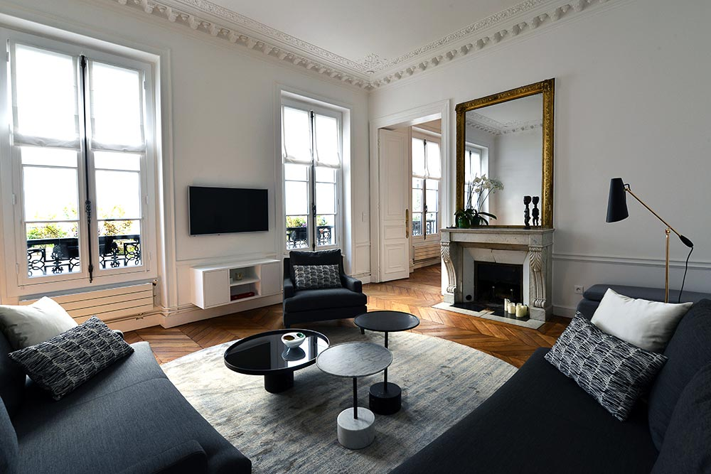 D coration d 39 int rieur appartement haussmannien 110m2 for Appartement decoration interieur