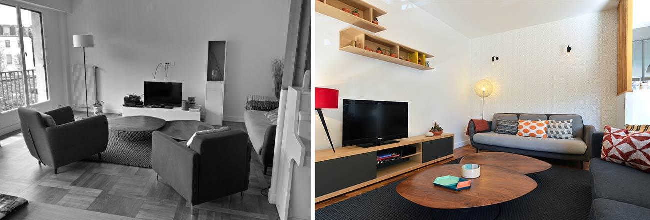Decoration Interieur Salon Sejour décoration d'un salon - séjour de 40m2 | avant-après | créateurs d