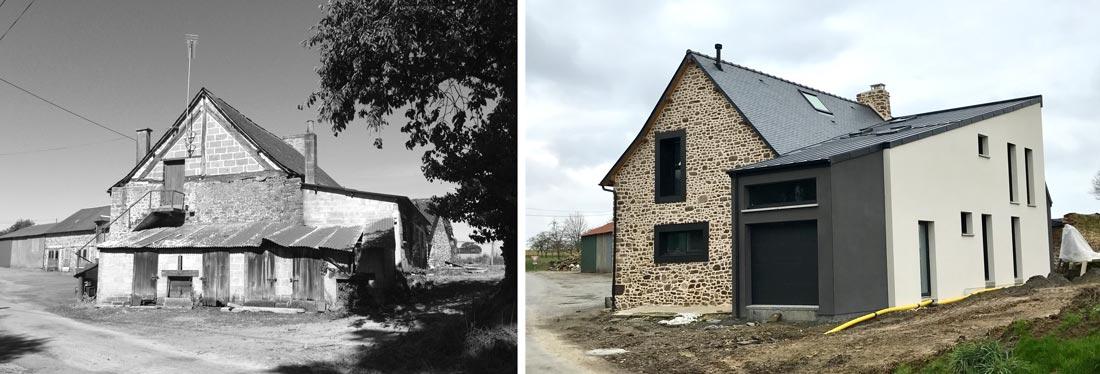Extension ajoutée à une maison ancienne en photos avant - après