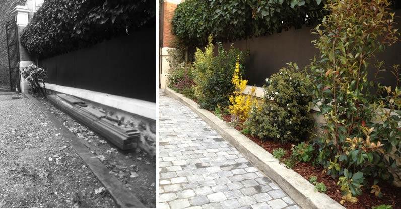 Avant apr s am nagement d 39 un jardin dans la cour d 39 un for Tarif jardinier paysagiste