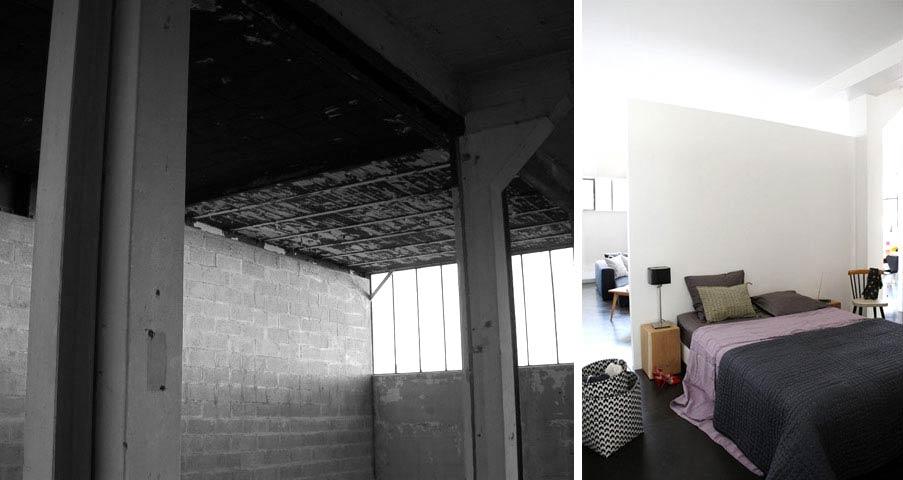 Avant apr s r novation d 39 un loft au design for Recours architecte 150m2